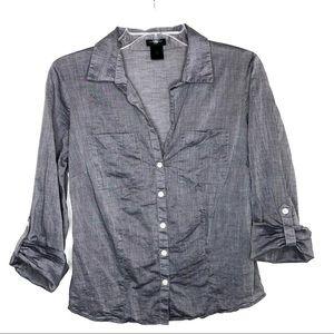 Ann Taylor Chambray Button Tab Sleeve Blouse